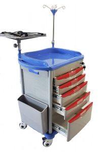 Lite Emergency Crash Cart Crash Cart with Accessories, IV Pole, Cardiac Board, O2 Holder, Power Strip