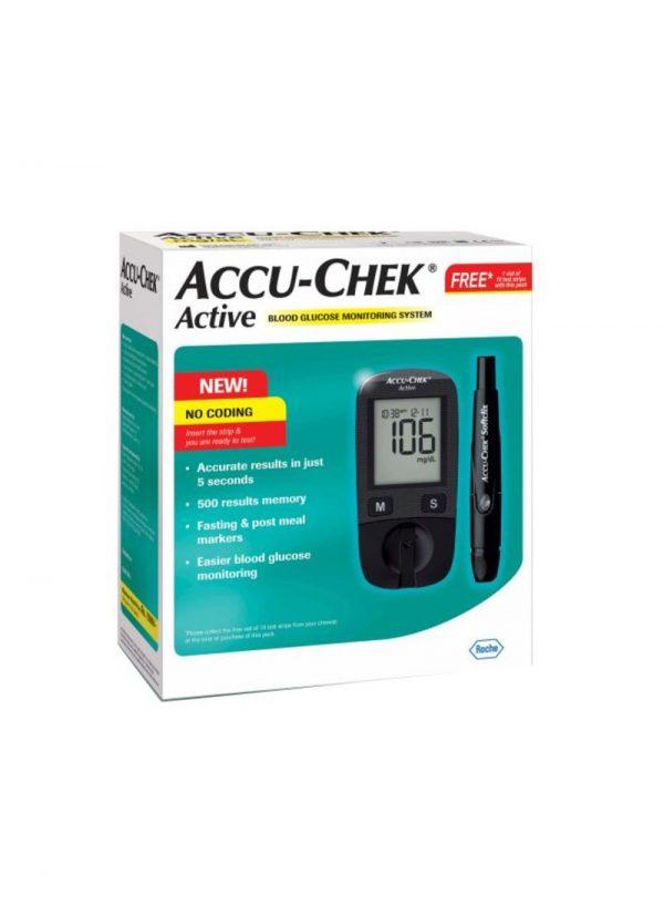 Roche Accu-Chek Active with 10s Free Sugar Level Testing Care Machine for Men Old Age Women Senior Citizen