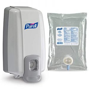 PURELL Advanced Hand Sanitizer NXT Starter Kit, 1 - 1000 mL Hand Sanitizer Gel Refill + 1- PURELL NXT SPACE SAVER Dove Grey Push-Style Sanitizer Dispenser – 2156-D1