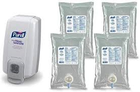 PURELL Hand sanitizer set (4 Refills 1000 ml with one manual Dispenser)