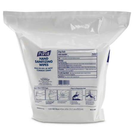 PURELL® Hand Sanitizing Wipe 1,200 Count BZK (Benzalkonium Chloride) Wipe Refill Pouch, compatible with PURELL dispenser 9019-01 ( DISPENSER SOLD SEPARATELY )