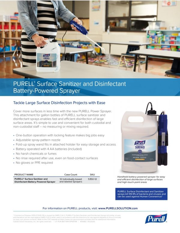 Purell® Surface Sanitizer & Disinfectant Battery Powered Sprayer