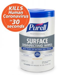 """PURELL® Professional Surface Disinfecting Wipes 110ct Canister, 7""""x8"""" Wipes"""